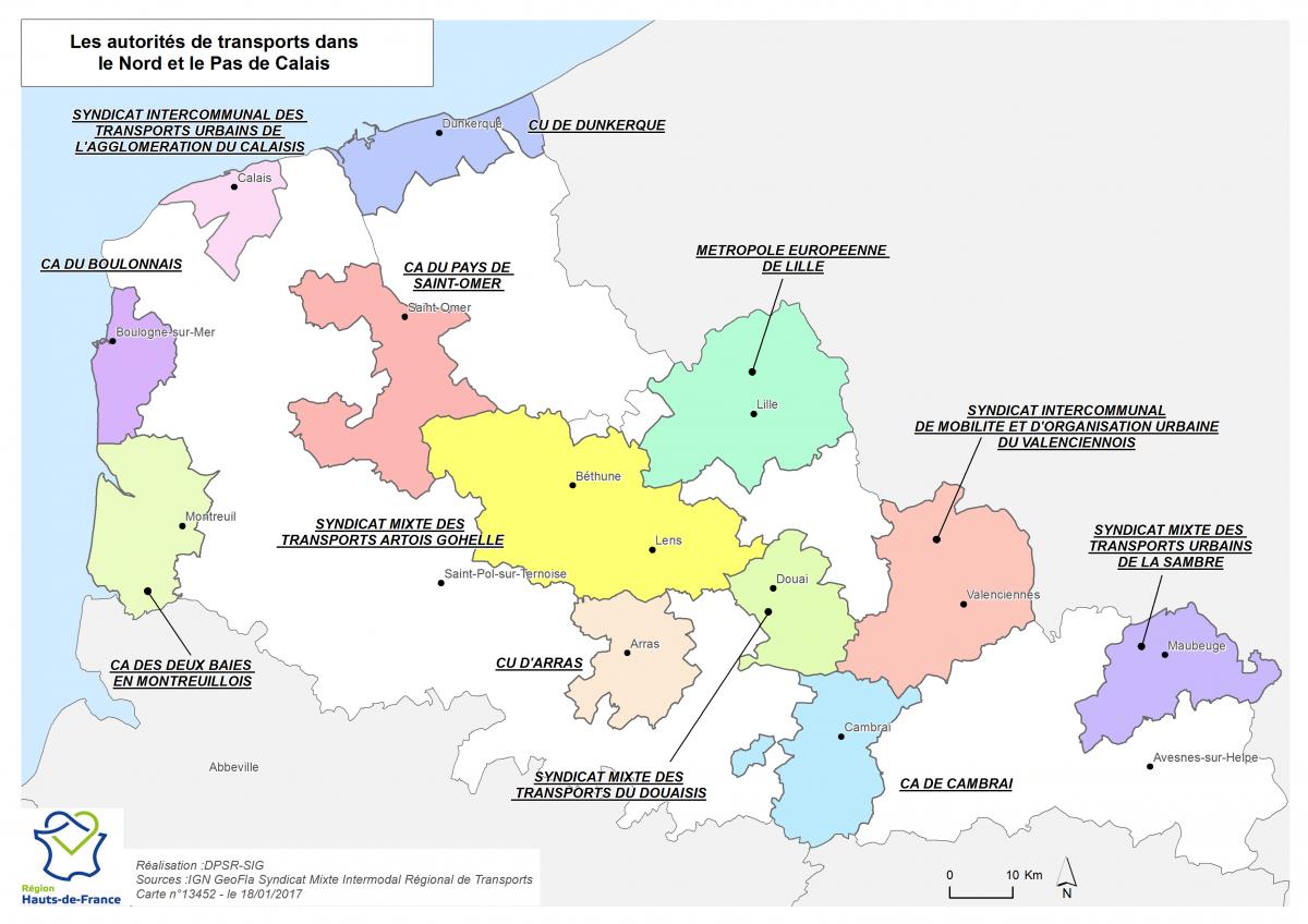 Image  Carte des AOMD du Nord et du Pas-de-Calais